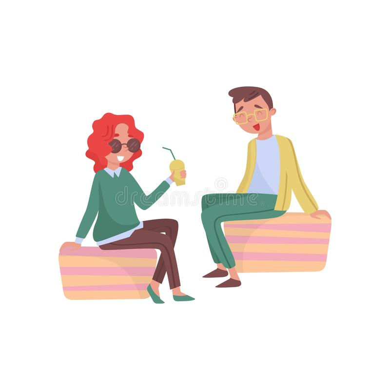 Young girl and guy siting outdoor and laughing. Woman holding cup of refreshing cocktail. Flat vector design vector illustration