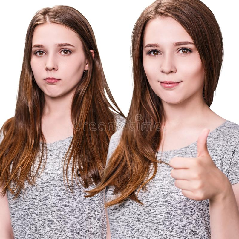 Young girl before and after hair treatment shows thumbs up. Young girl before and after hair treatment shows thumbs up gesture stock photos