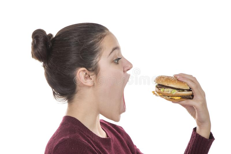 Young Girl with a hamburger stock photo