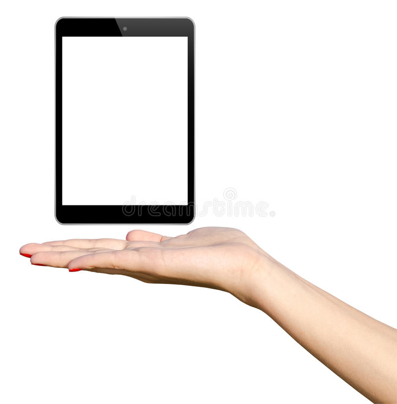 Young Girl Hand Holding IPad Mini Tablet royalty free stock images