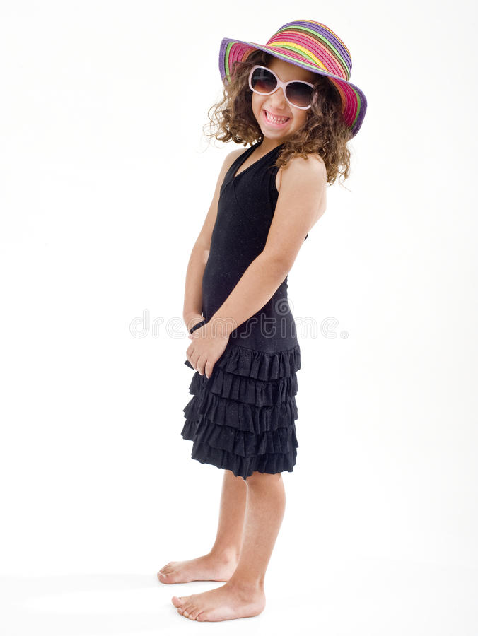Young Girl With Hat And Sunglasses Stock Photo