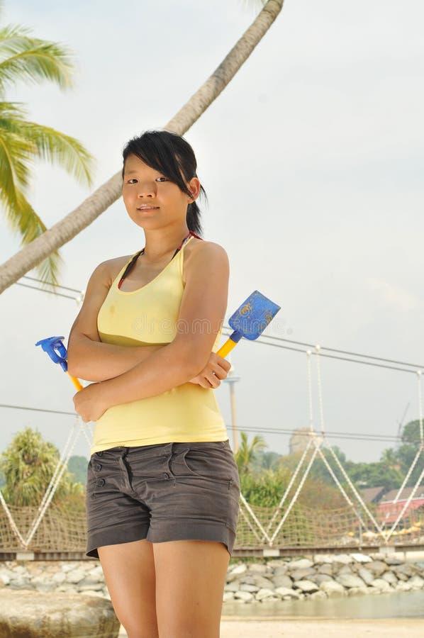 Young Girl Having Fun At The Beach stock image