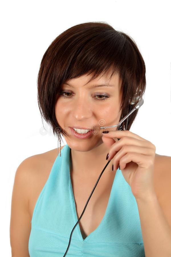 Download Young Girl With Head Phones Stock Image - Image of brunette, phones: 7944811