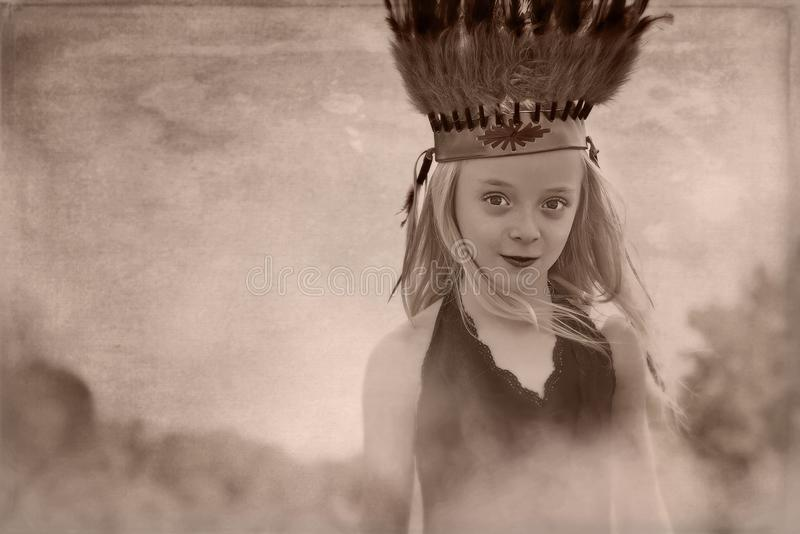 Young girl headdress royalty free stock images