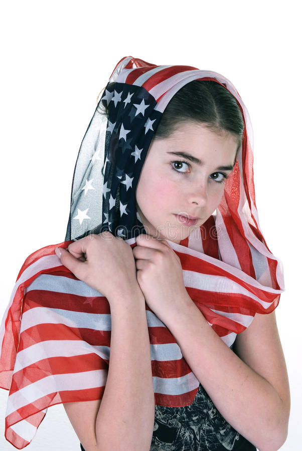 Download Young Girl With Headdress Scarf Stock Photo - Image of patriotic, headscarf: 31345344