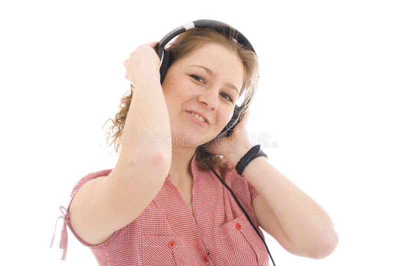 Download The Young Girl With A Headphones Stock Photo - Image: 7157088