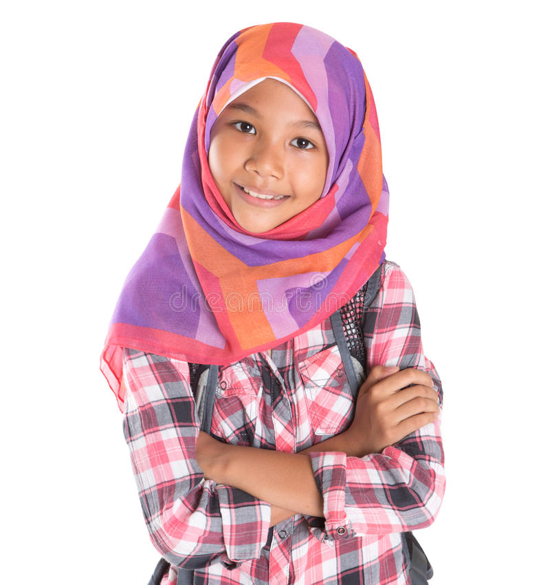 Young Girl With Headscarf And Backpack I royalty free stock photography
