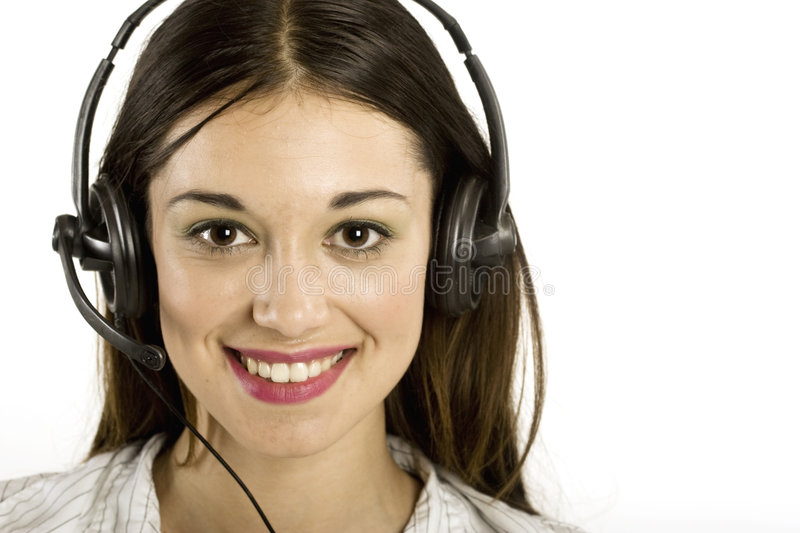 Young girl with headset stock photo