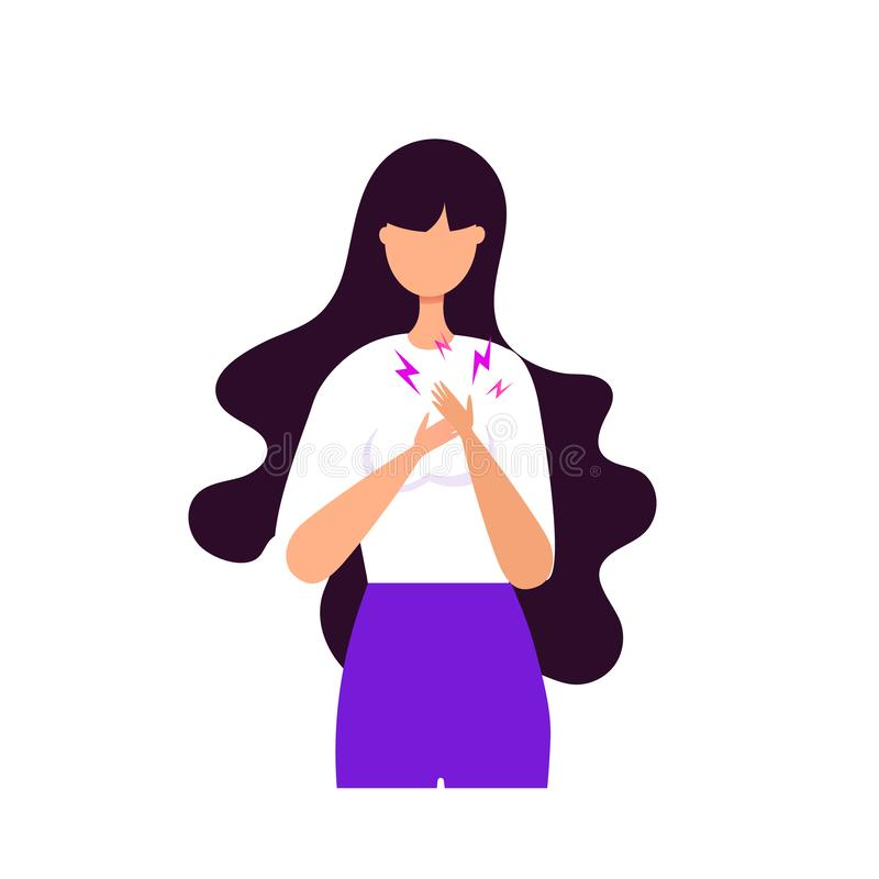 Young girl heart disease or stress and apathy concept. A woman holds herself by the heart vector illustration