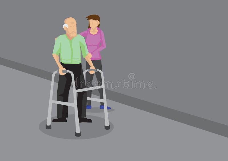 Young Girl Helping Elderly Man with Walker Vector Illustration stock illustration