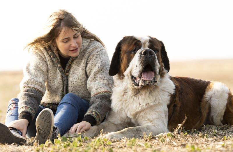 Young girl and her big Bernard dog stock image