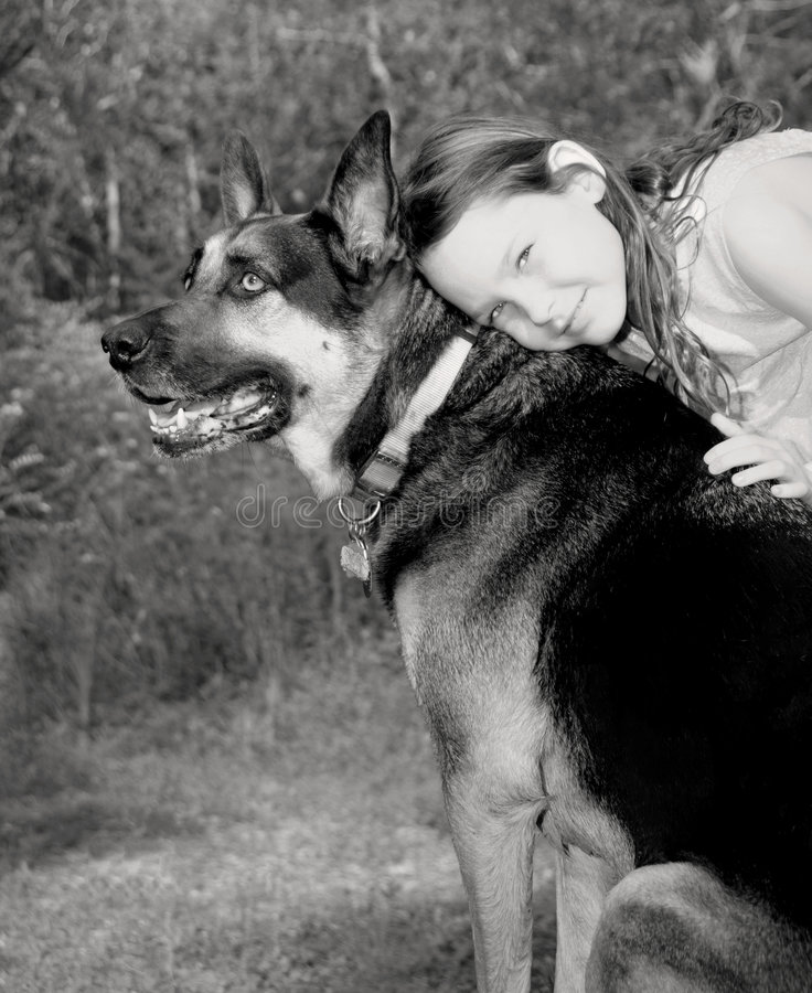 Young Girl and Her Dog royalty free stock photo