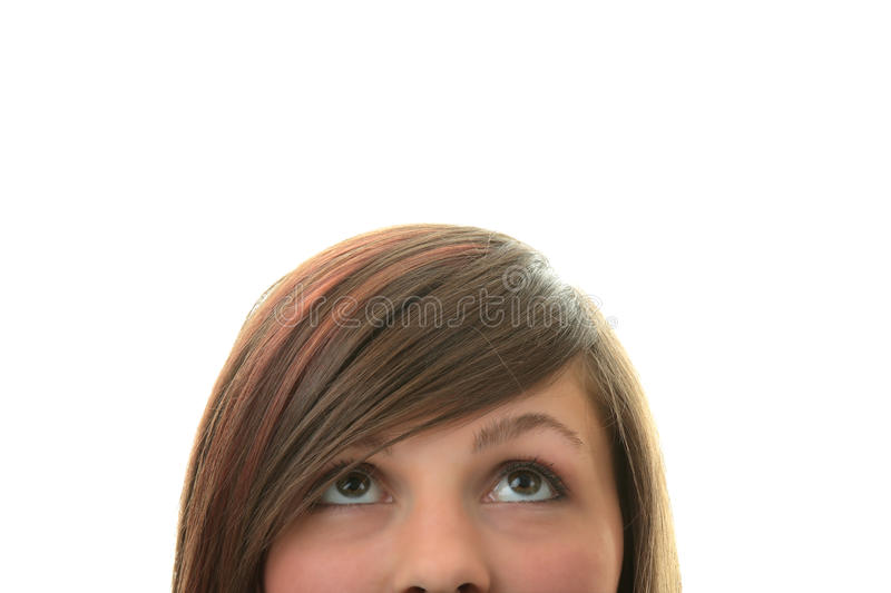 Download Young Girl With Her Eyes Looking Away Up Stock Photo - Image of closeup, forehead: 11101286