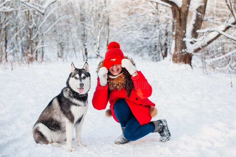 Young girl with her husky dog in winter park. Domestic pet. Husky. Animal love royalty free stock photography