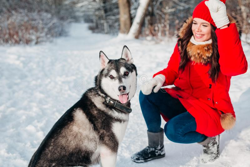 Young girl with her husky dog in winter park. Domestic pet. Husky. Young girl with her husky dog outdoor at winter. Domestic pet. Husky royalty free stock photo