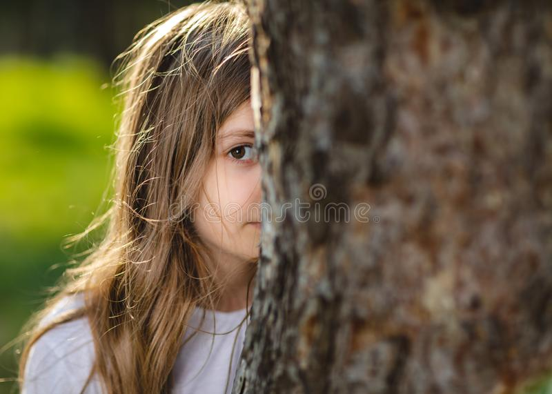 Young girl hiding behind the tree. Portrait of young girl behind the tree in park. Half face of girl behind tree. stock photography