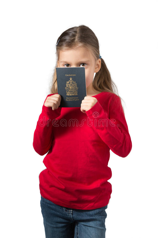 Download Young Girl Hiding Her Face Behind Canadian Passport Stock Image - Image of background, canada: 28337685