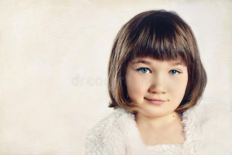 Young girl in a high key portrait stock photo
