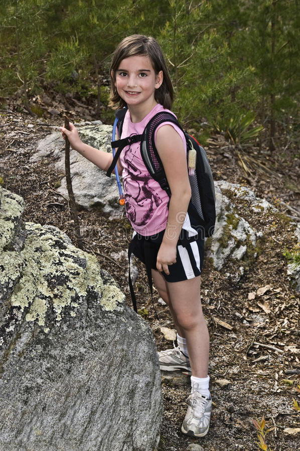 Young Girl Hiking stock images