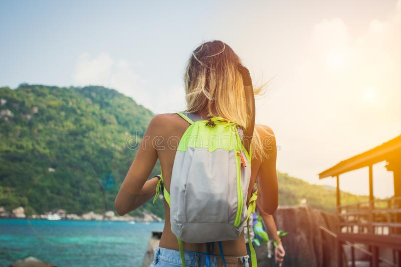 Young girl hiking royalty free stock photos