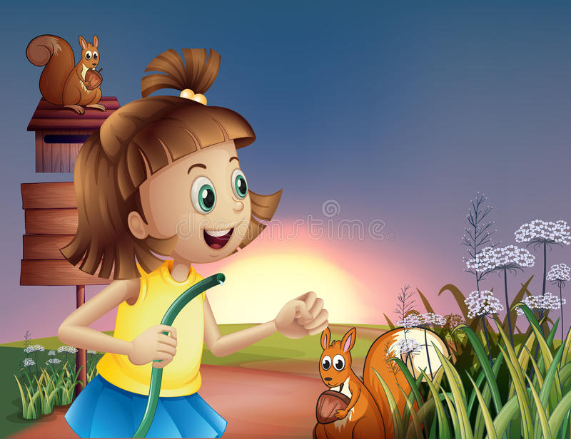 A young girl at the hilltop with a water hose royalty free illustration