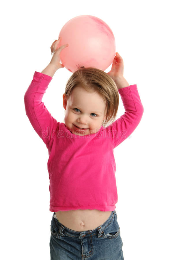 Free Young Girl Holding Ball Showing Navel Stock Images - 30367394