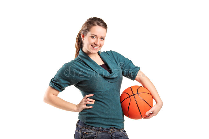 Download Young Girl Holding A Basketball Stock Image - Image: 18772319