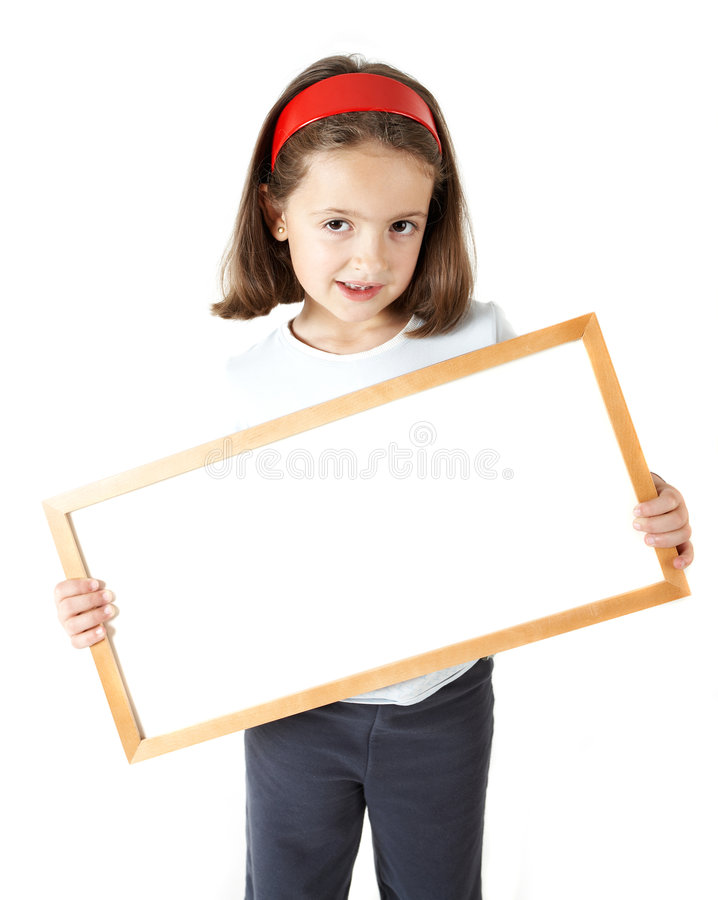 Young Girl holding a blank board stock photography