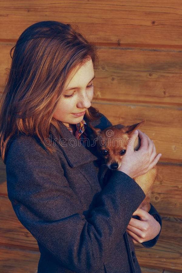 Young Girl Holding A Little Dog Over Wooden Background. Owner And Pet.  Pretty Young Caucasian Girl And Dog. People, Animals Concept royalty free stock photo