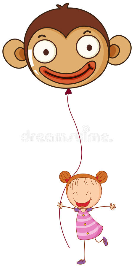 A young girl holding a monkey balloon. Illustration of a young girl holding a monkey balloon on a white background stock illustration