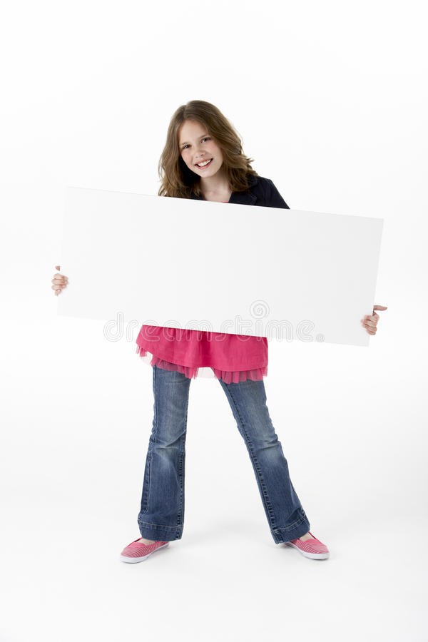Young Girl Holding Party White Card Stock Photos