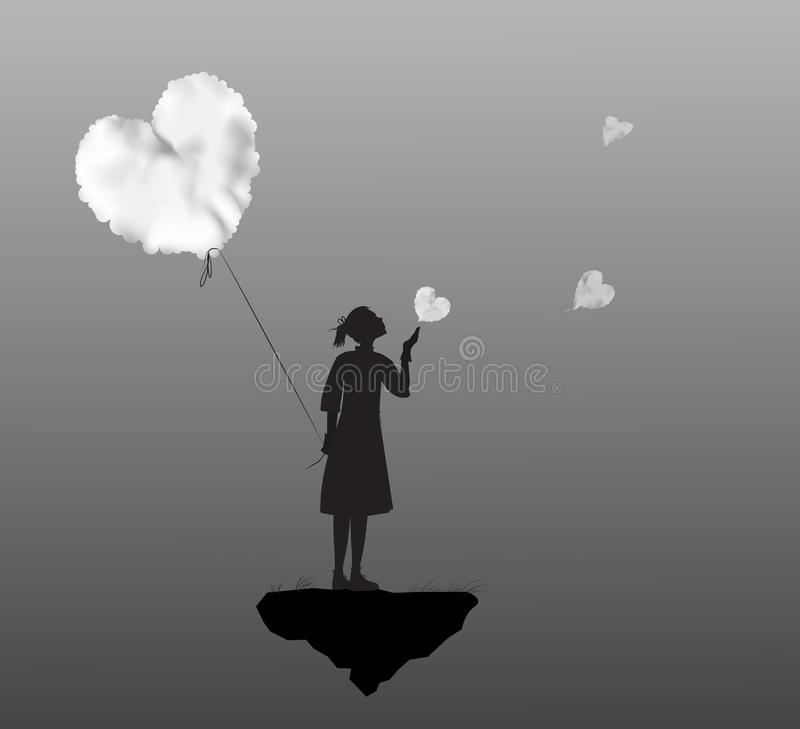 Young girl holding the white cloud heart, Valentines day, romantic time in dreamland, black and white,. Vector vector illustration