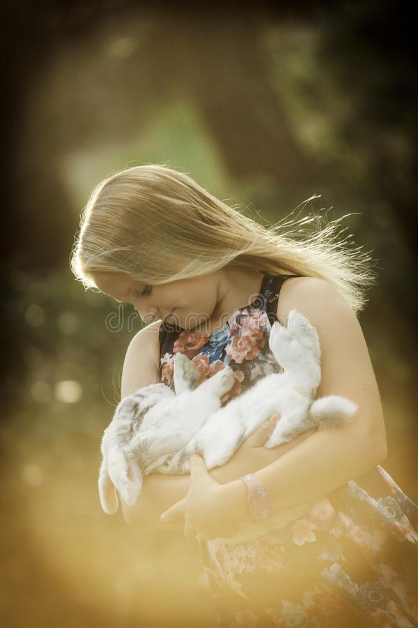 Young girl is holding white rabbit stock photos