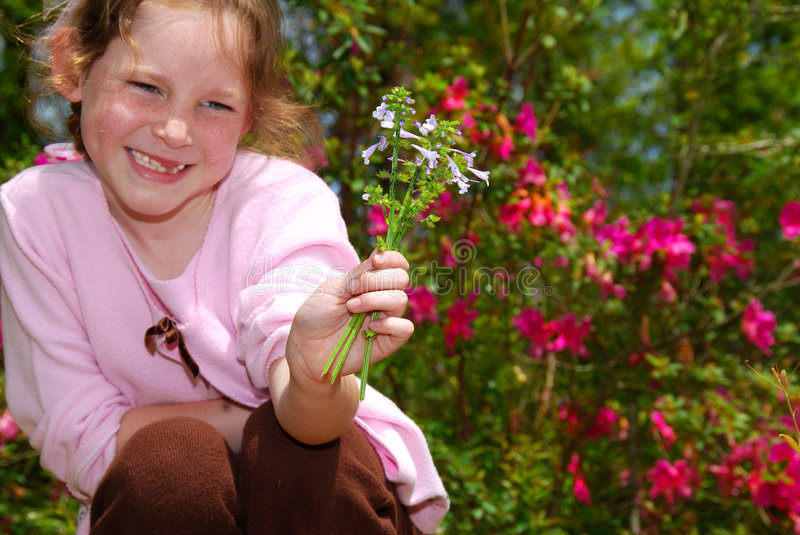 Young Girl Holding Wildflowers. Cute young girl missing front teeth holding pretty wildflowers royalty free stock photography