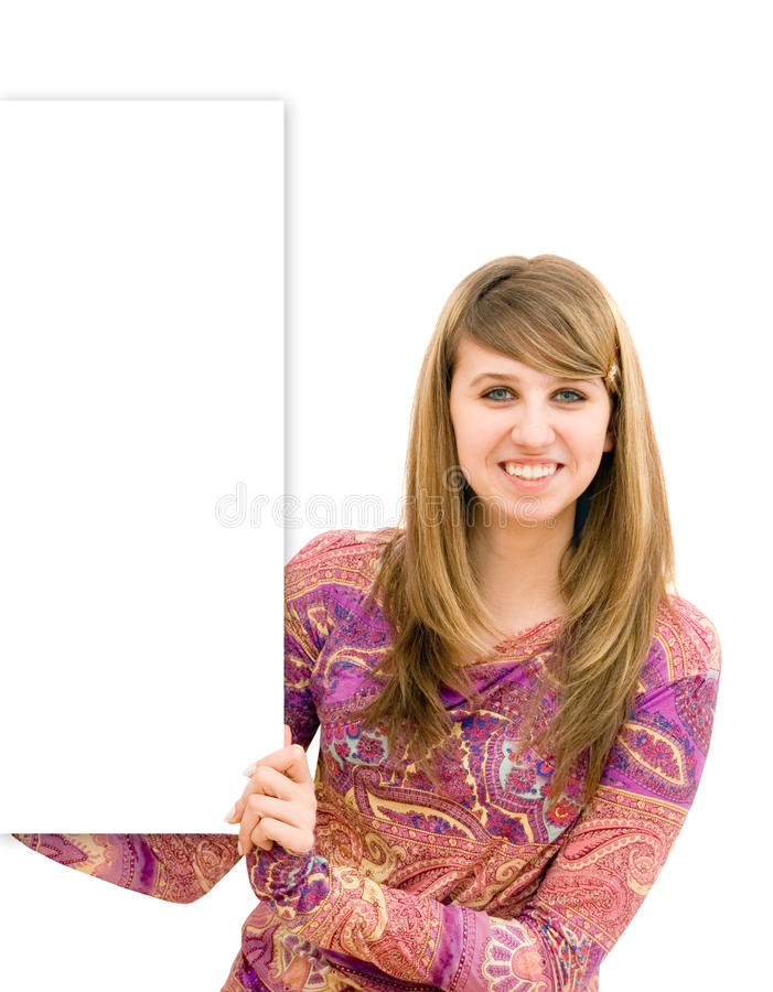Download The Young Girl Holds A Banner Stock Photo - Image: 13207992