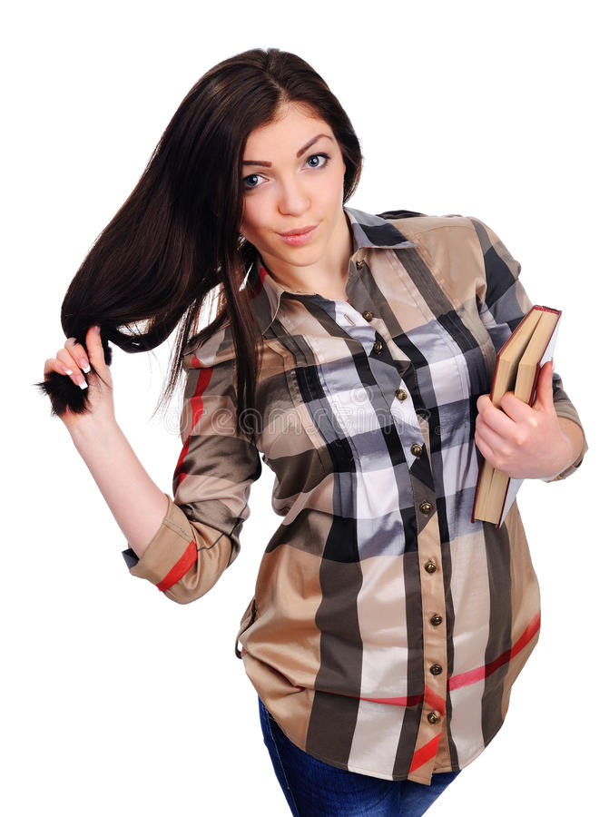 Download Young Girl Holds An Opened Book, Got Foxy Look Stock Image - Image of learning, close: 30162619