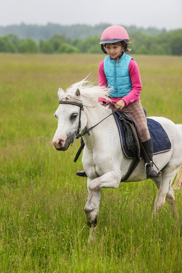 The young girl on a horse galloping across the field royalty free stock photography