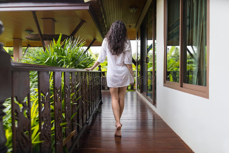 Young Girl On Hotel Terrace, Tropical Forest Beautiful Woman Back Rear View Summer Vacation stock images
