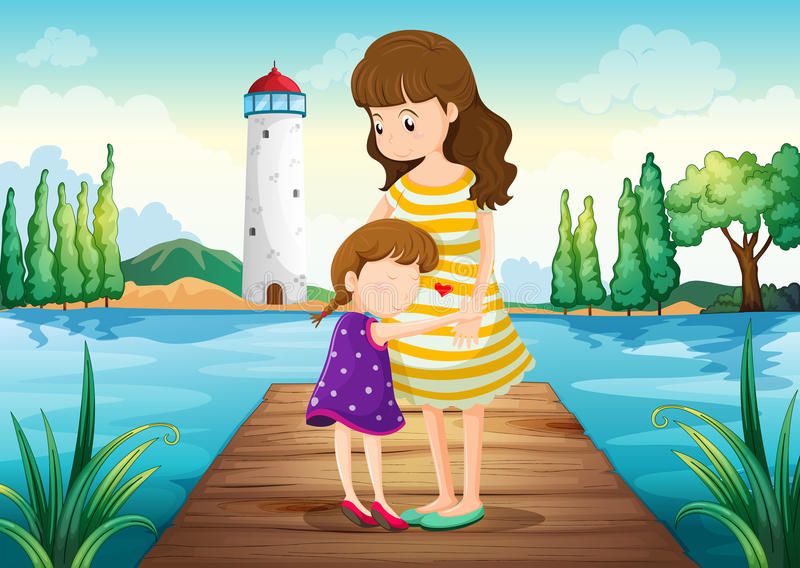 A young girl hugging her mother at the bridge royalty free illustration
