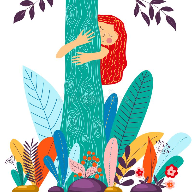 Young girl hugging tree. Eco friendly, environment preservation concept. Harmony with nature, nature love design. Vector illustration in cartoon flat style stock illustration
