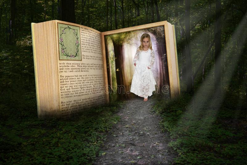 Young Girl, Imagination, Make Believe. A young girl wearing a white cotton dress uses imagination to walk out of a story book in a deep, dark woods. Children stock photo
