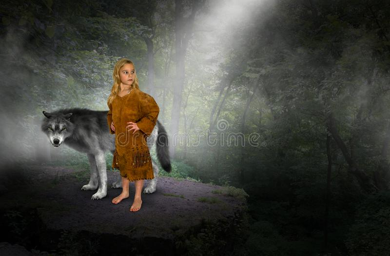 Young Girl, Indian Princess, Wolf. A young girl stands in the forest or woods with a white wolf. The child is playing fantasy make believe and pretends to be an royalty free stock images