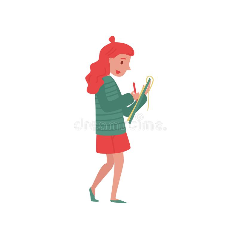 Young girl journalist taking notes on her clipboard. Professional at work. Official press reporter. Flat vector design stock illustration