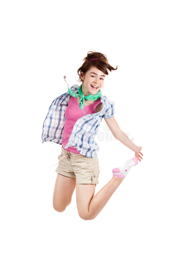 Download Young girl jumping stock photo. Image of isolated, freedom - 16451024