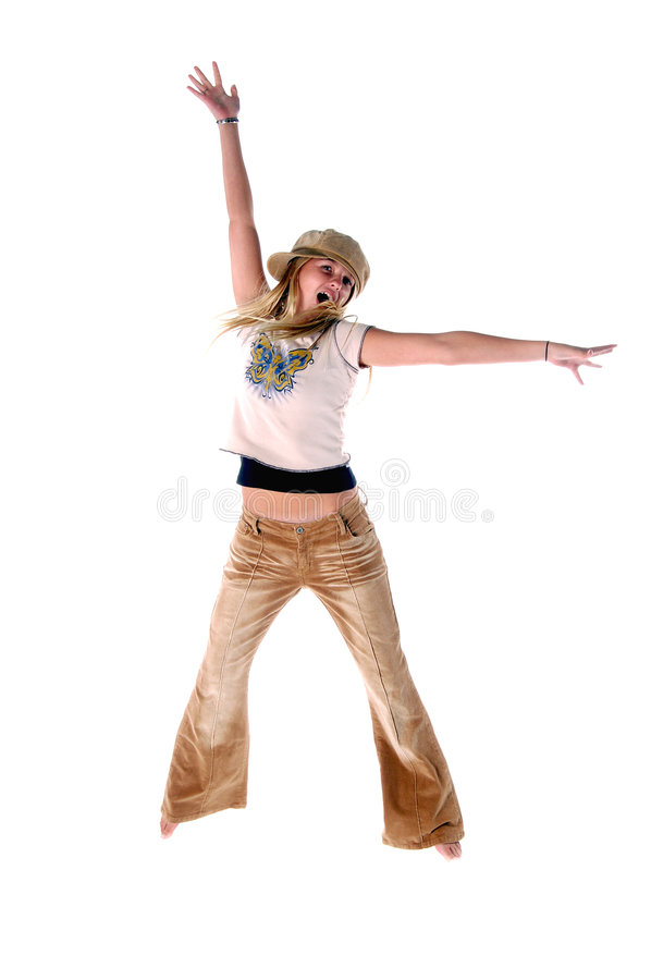 Young Girl Jumps stock images