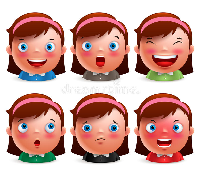 Young girl kid avatar facial expressions set of cute emoticon heads vector illustration