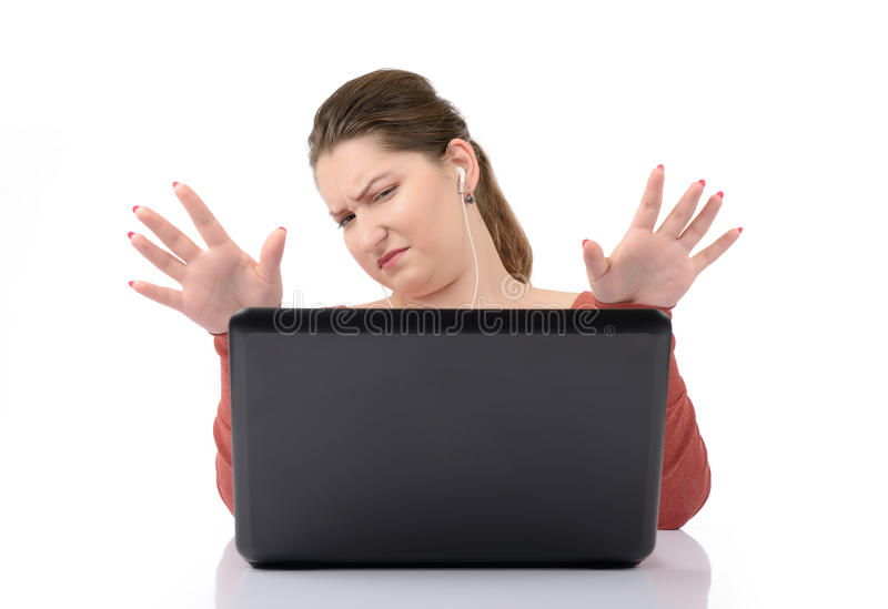 Download Young girl at a laptop stock image. Image of student - 26354653