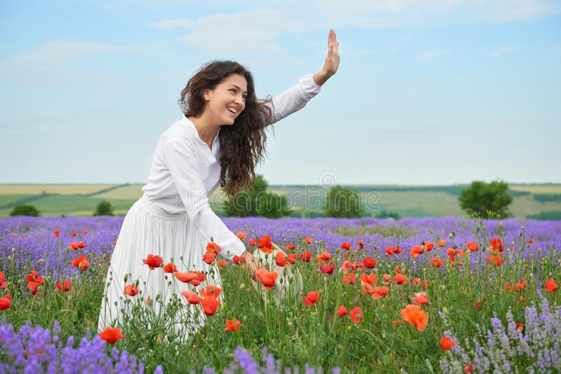 Young girl is in the lavender field, beautiful summer landscape with flowers royalty free stock images