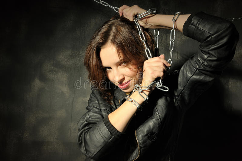 Download Young Girl In Leather Jacket With Chain Stock Image - Image: 11731001
