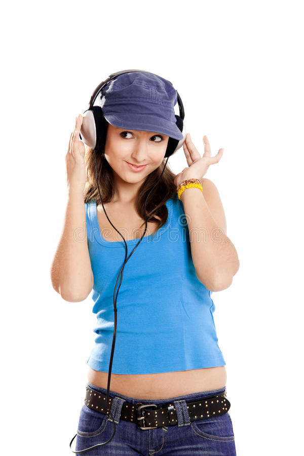 Download Young girl listen music stock image. Image of caucasian - 14438671